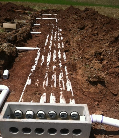Bealeton virginia agricultural farm septic construction for Septic tank distribution box location